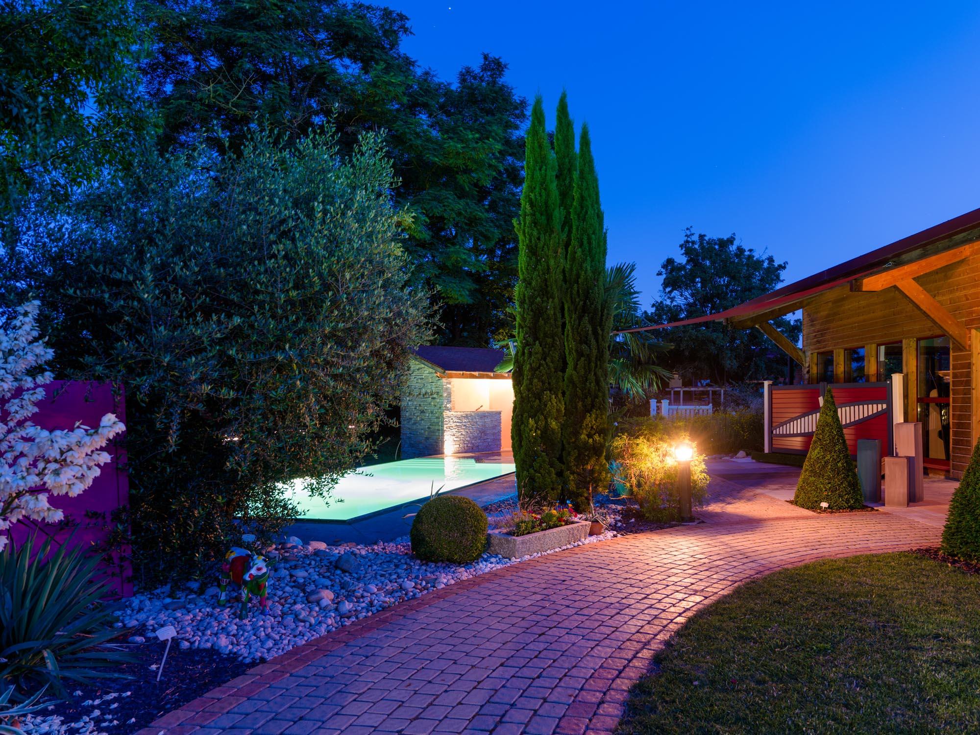 Perret Paysage, Tournus, les éclairages de jardin